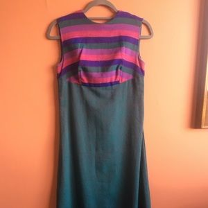 Vintage striped floor length woven dress in teal